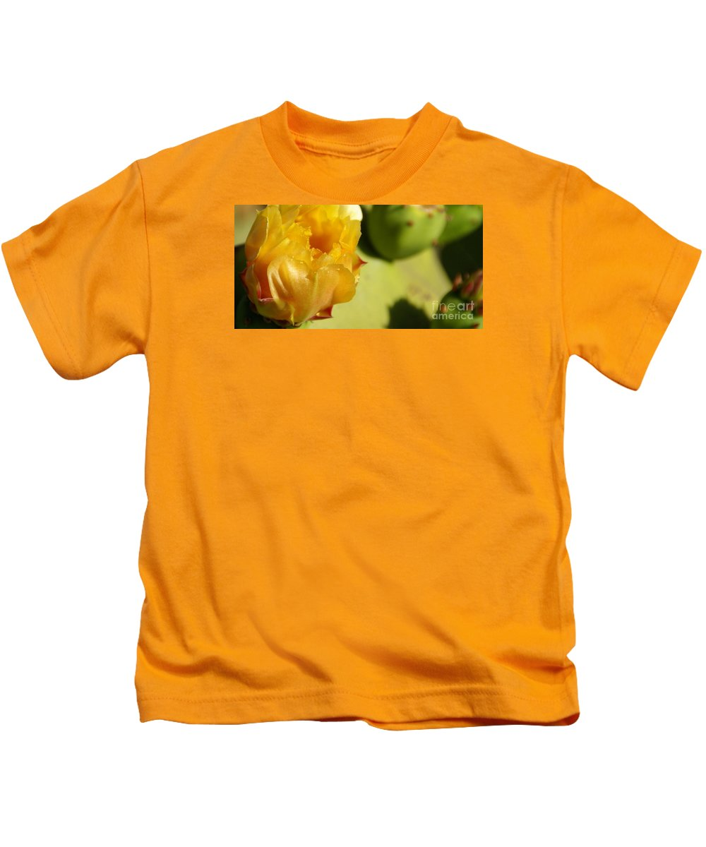 Cactus Kids T-Shirt featuring the photograph Cactus Flower by Linda Shafer