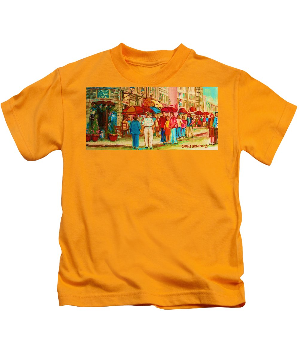 Cafe Scenes Kids T-Shirt featuring the painting Cafe Crowds by Carole Spandau