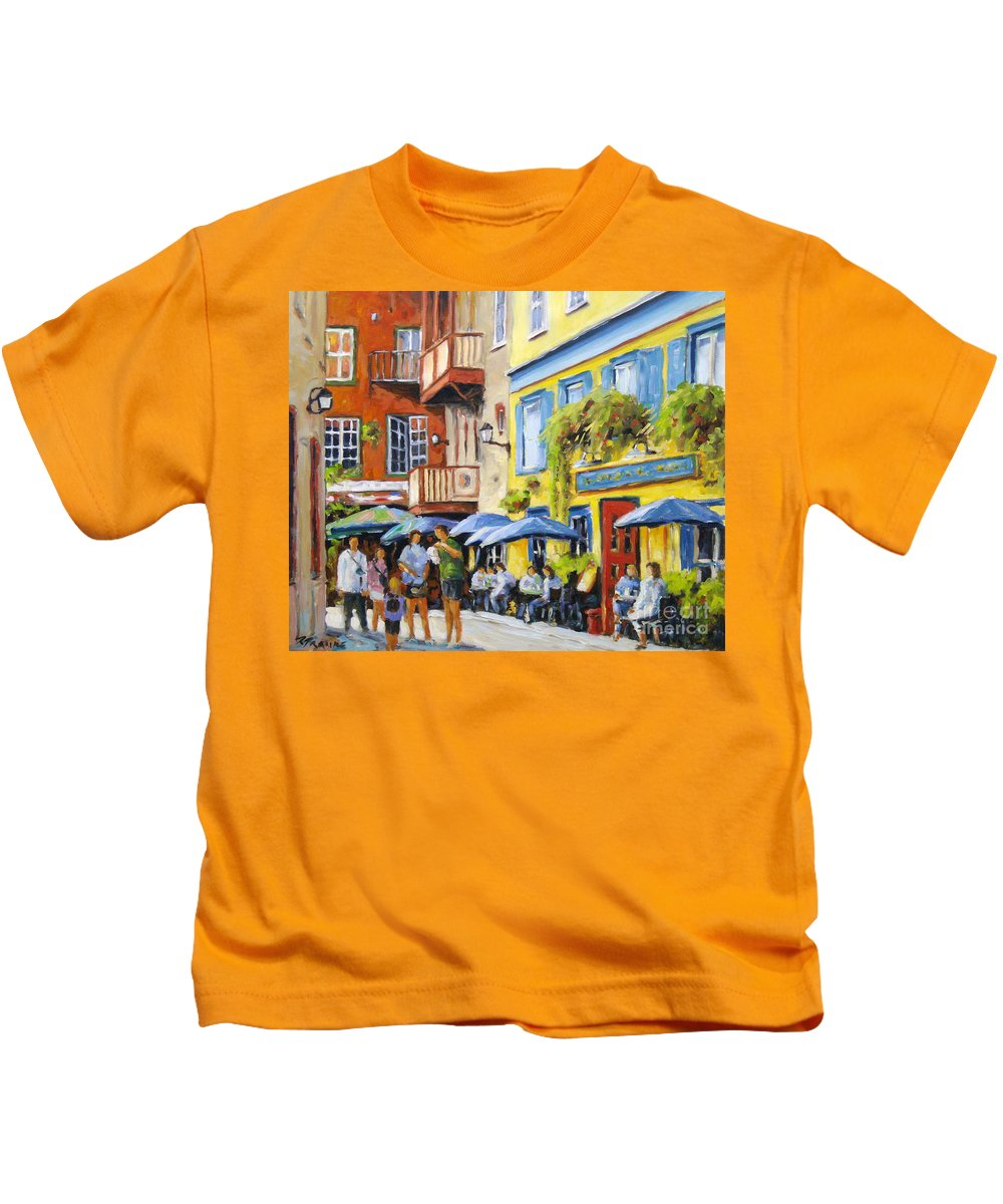Balcony Kids T-Shirt featuring the painting Cafe In The Old Quebec by Richard T Pranke