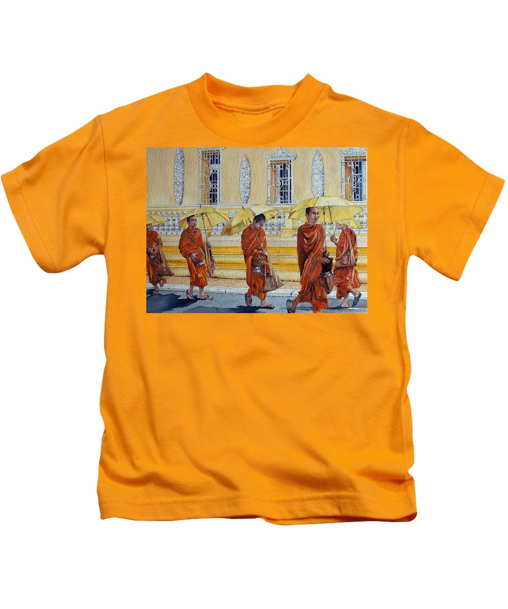 Monks Kids T-Shirt featuring the painting Cambodian Harmony by Joanne Ferster