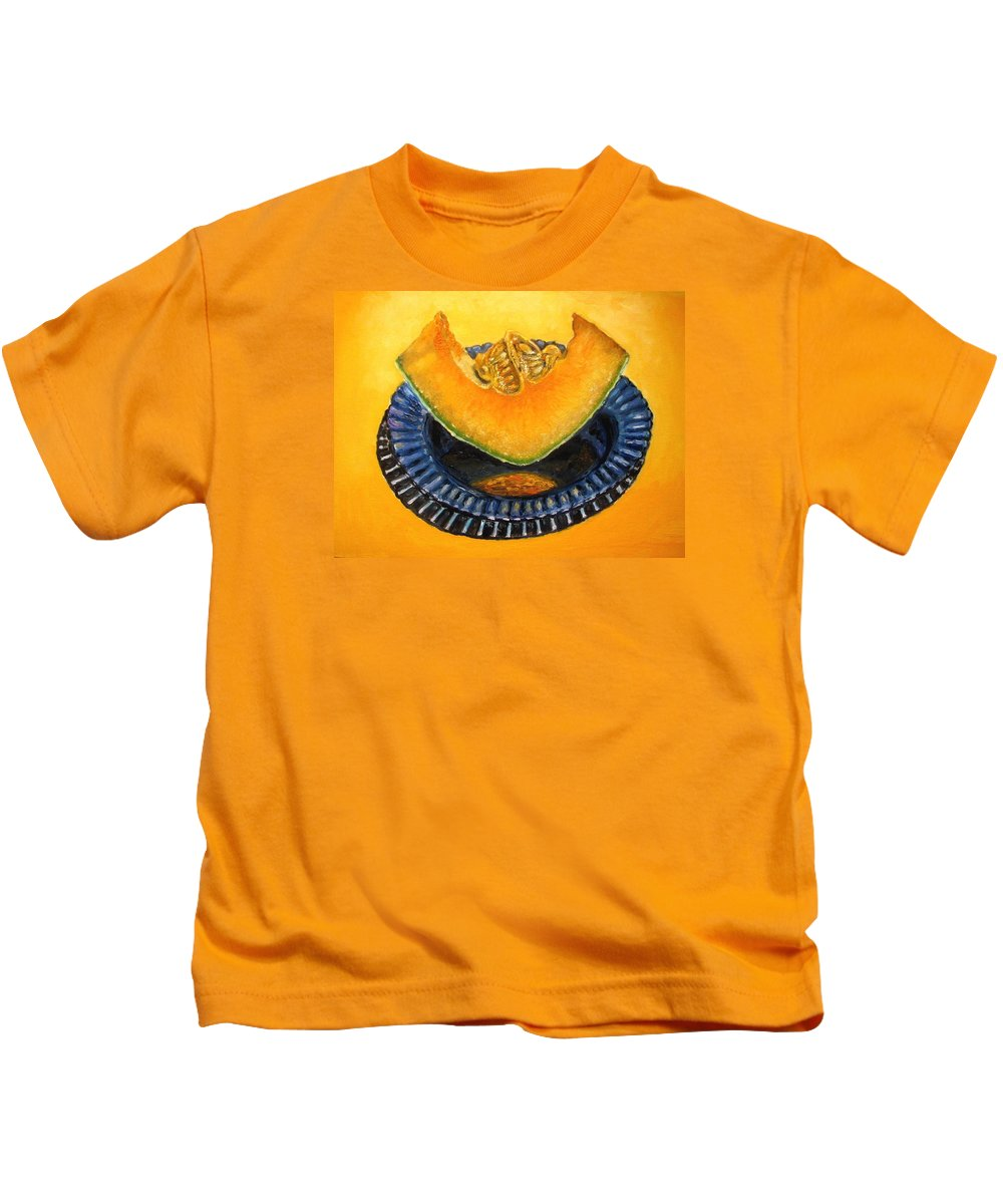 Cantaloupe Kids T-Shirt featuring the painting Cantaloupe Oil Painting by Natalja Picugina
