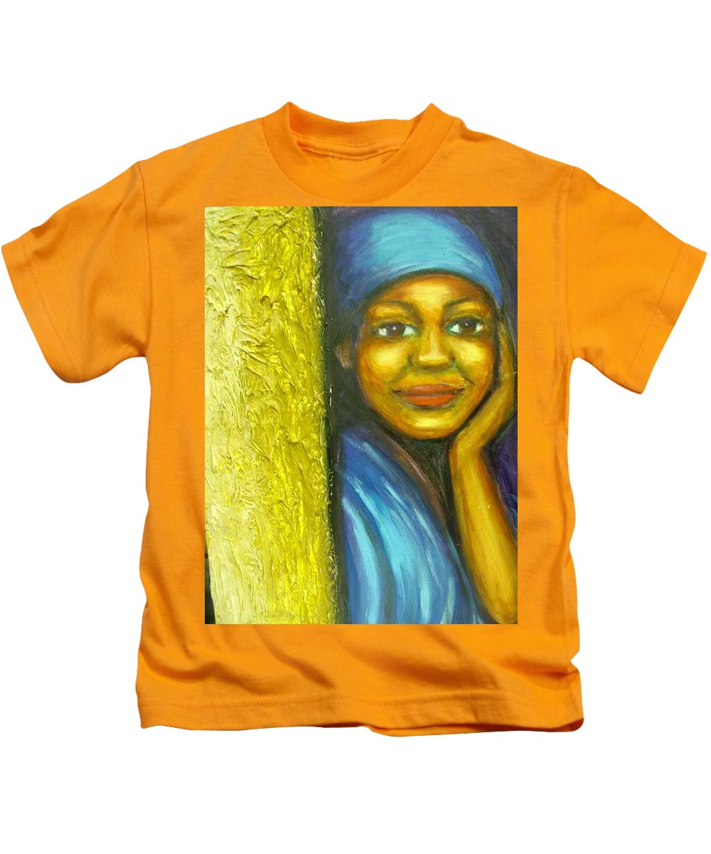 Kids T-Shirt featuring the painting Caribbean Mystery Lady by Jan Gilmore