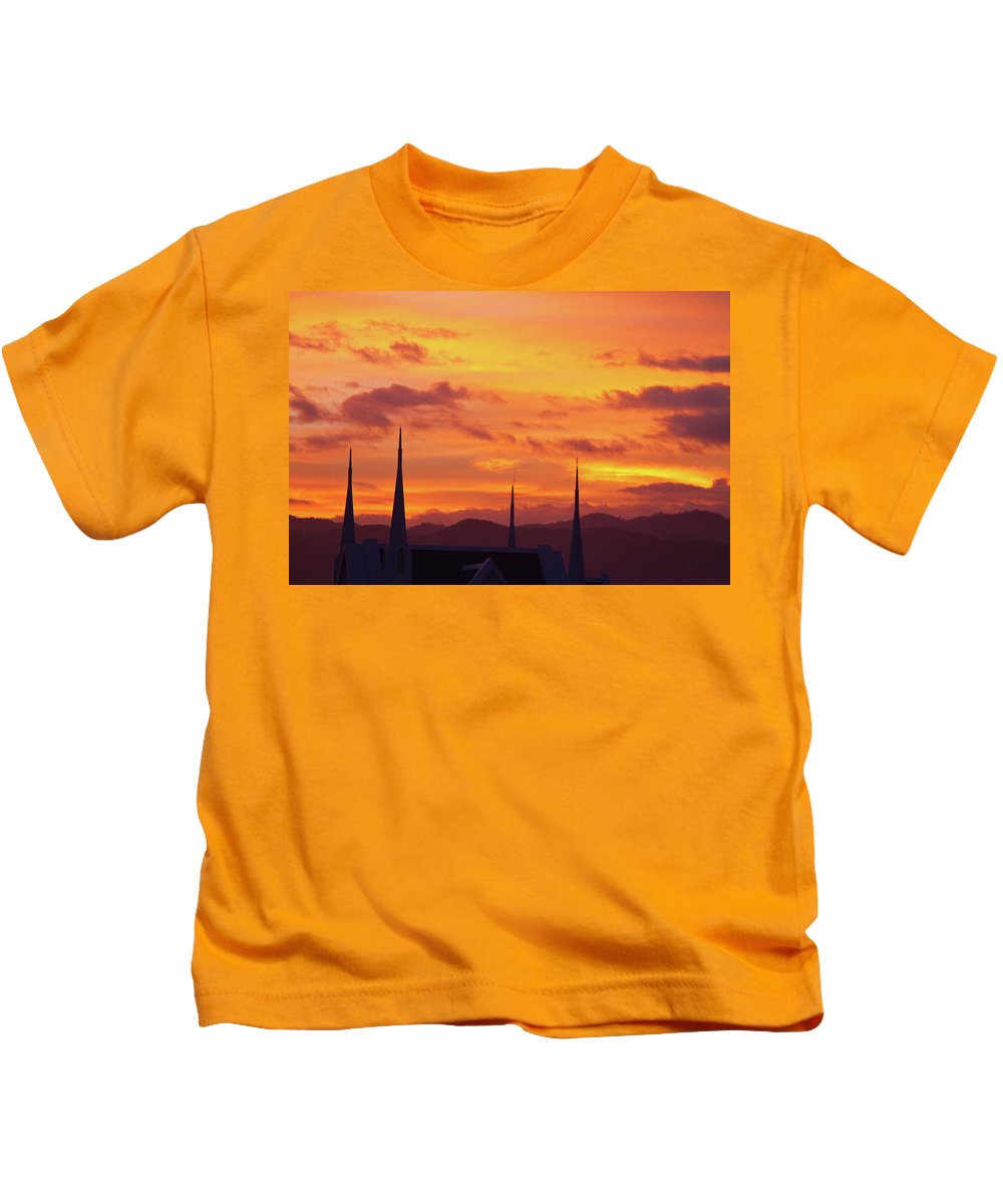 Insogna Kids T-Shirt featuring the photograph Cathedral Church Sunset by James BO Insogna