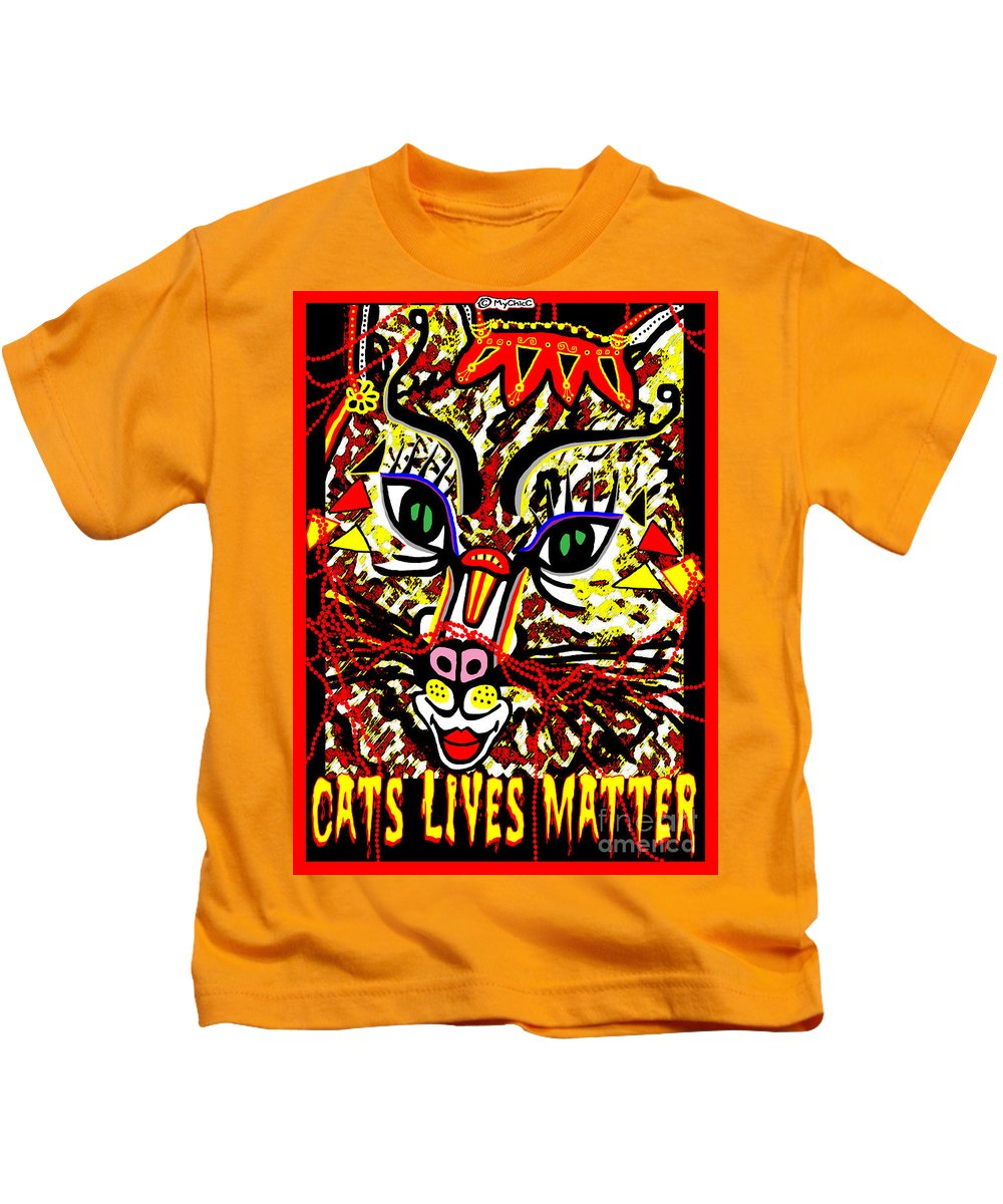 Cat Kids T-Shirt featuring the photograph Cats Lives Matter by Art by MyChicC