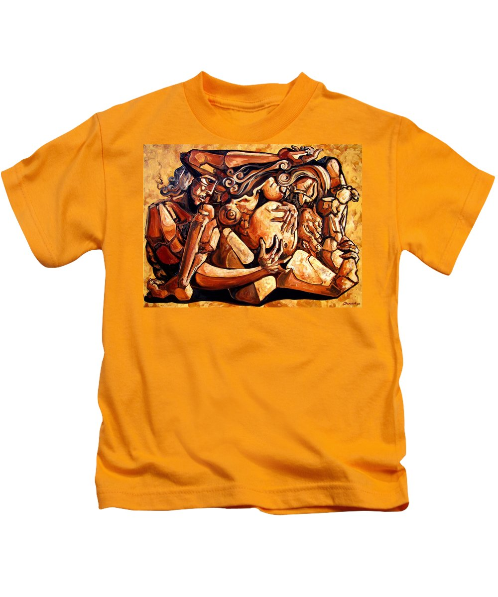Surrealism Kids T-Shirt featuring the painting Chaos After The News by Darwin Leon