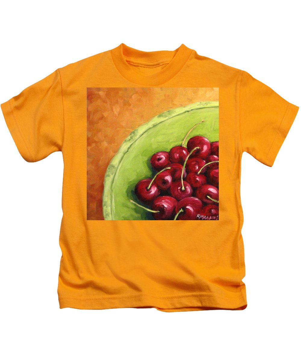 Art Kids T-Shirt featuring the painting Cherries Green Plate by Richard T Pranke