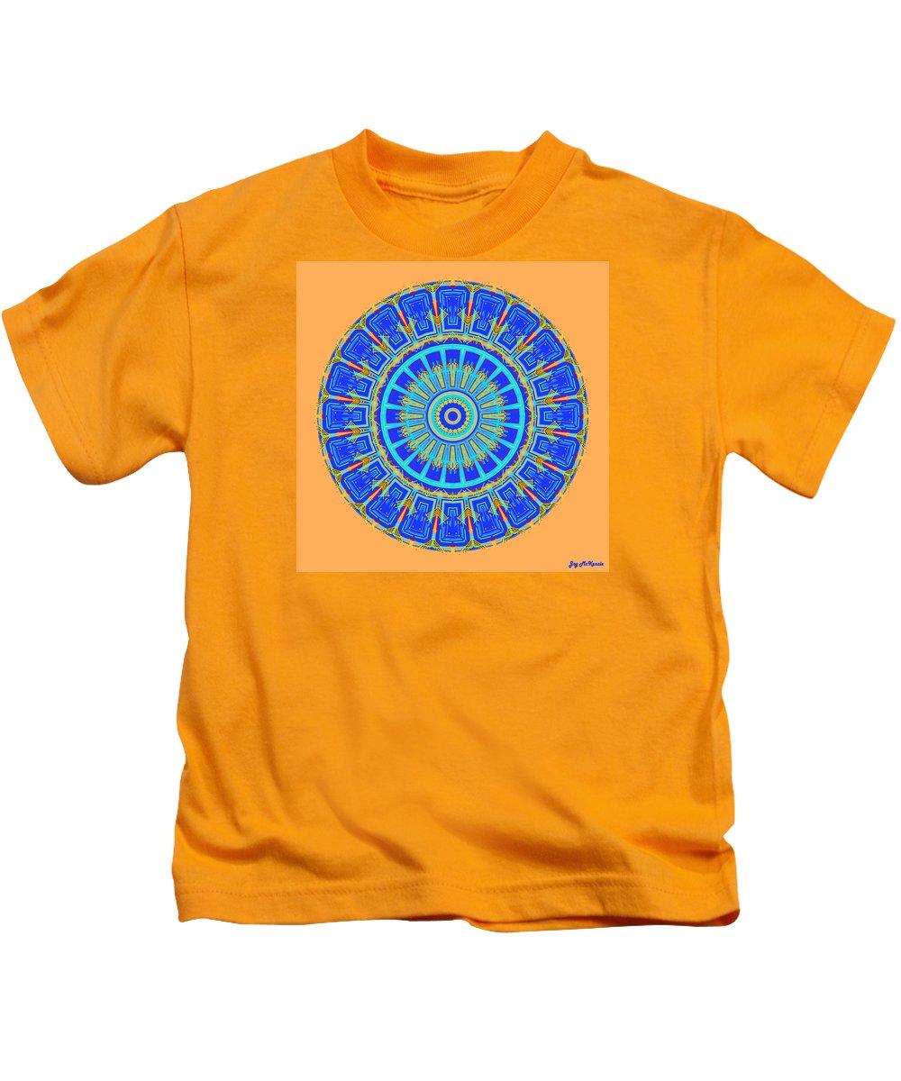 Digital Kids T-Shirt featuring the digital art Chevrons Mandala by Joy McKenzie