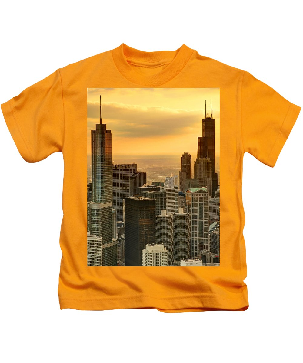 Chicago Kids T-Shirt featuring the photograph Chicago Evenings by Ajit Pillai