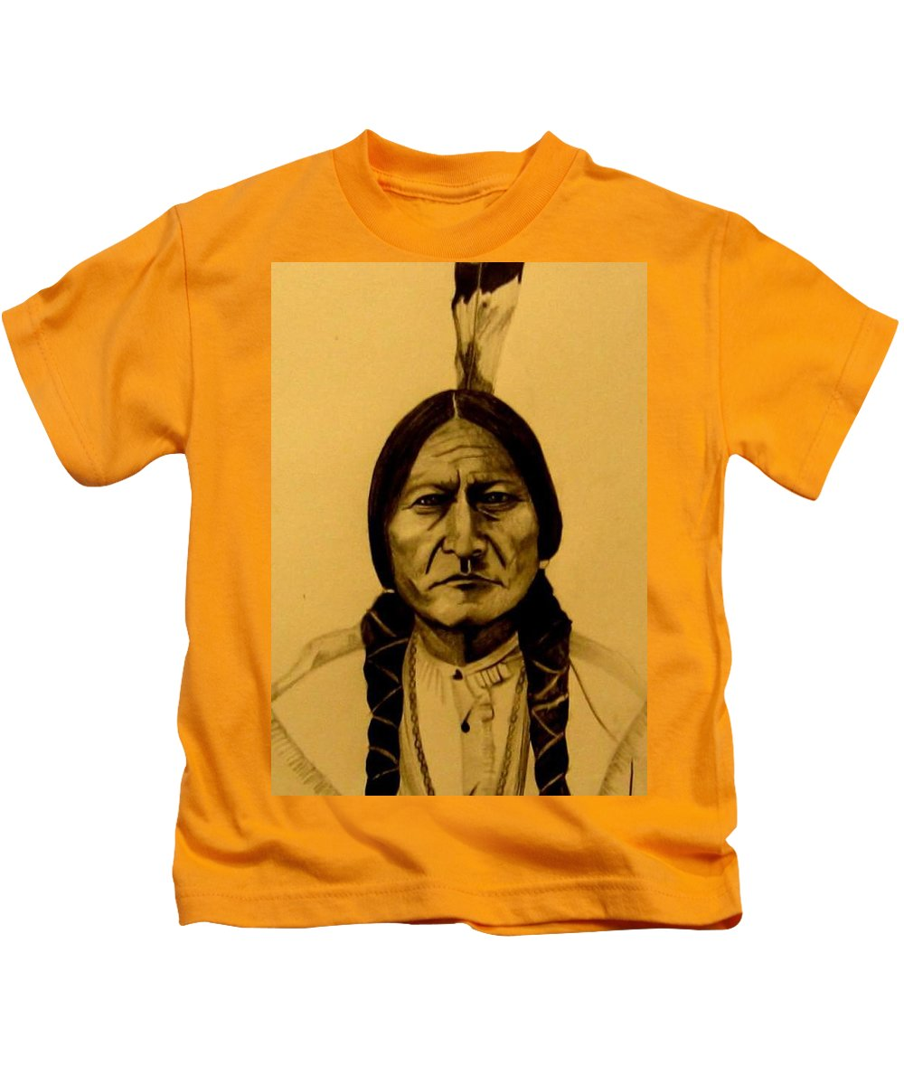 Portrait Kids T-Shirt featuring the drawing Chief Sitting Bull Tatanka Iyotake by Michelle Dallocchio