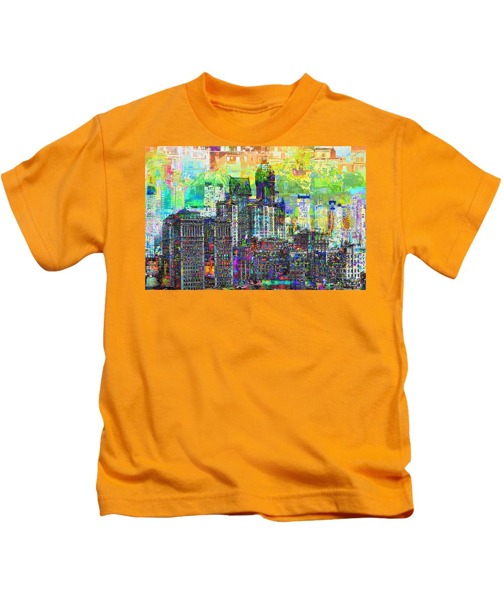 City-art Kids T-Shirt featuring the photograph Cityscape Art City Optimist by Mary Clanahan