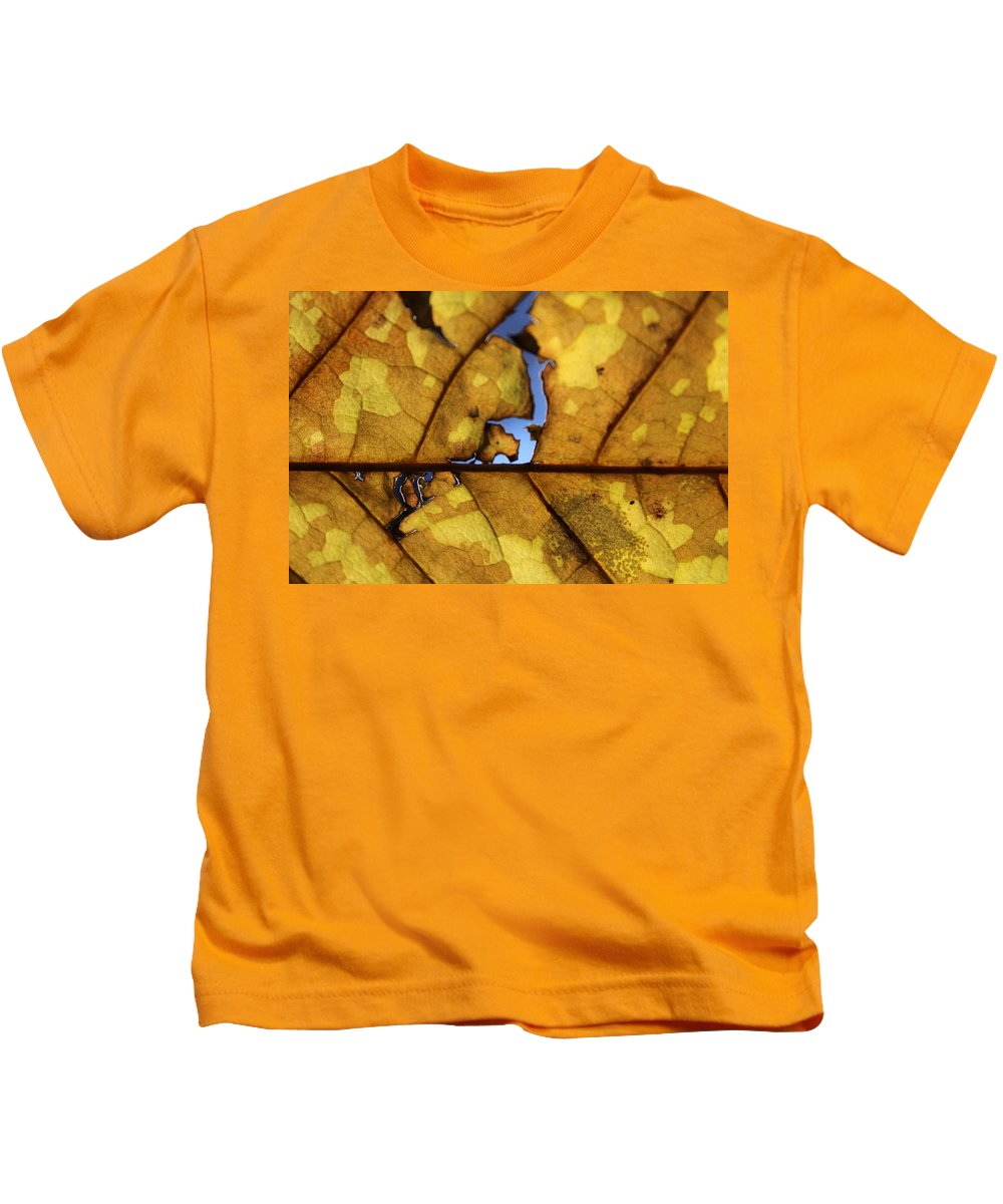 Yellow Kids T-Shirt featuring the photograph Close Up Of Yellow Leaf by Hunter Kotlinski