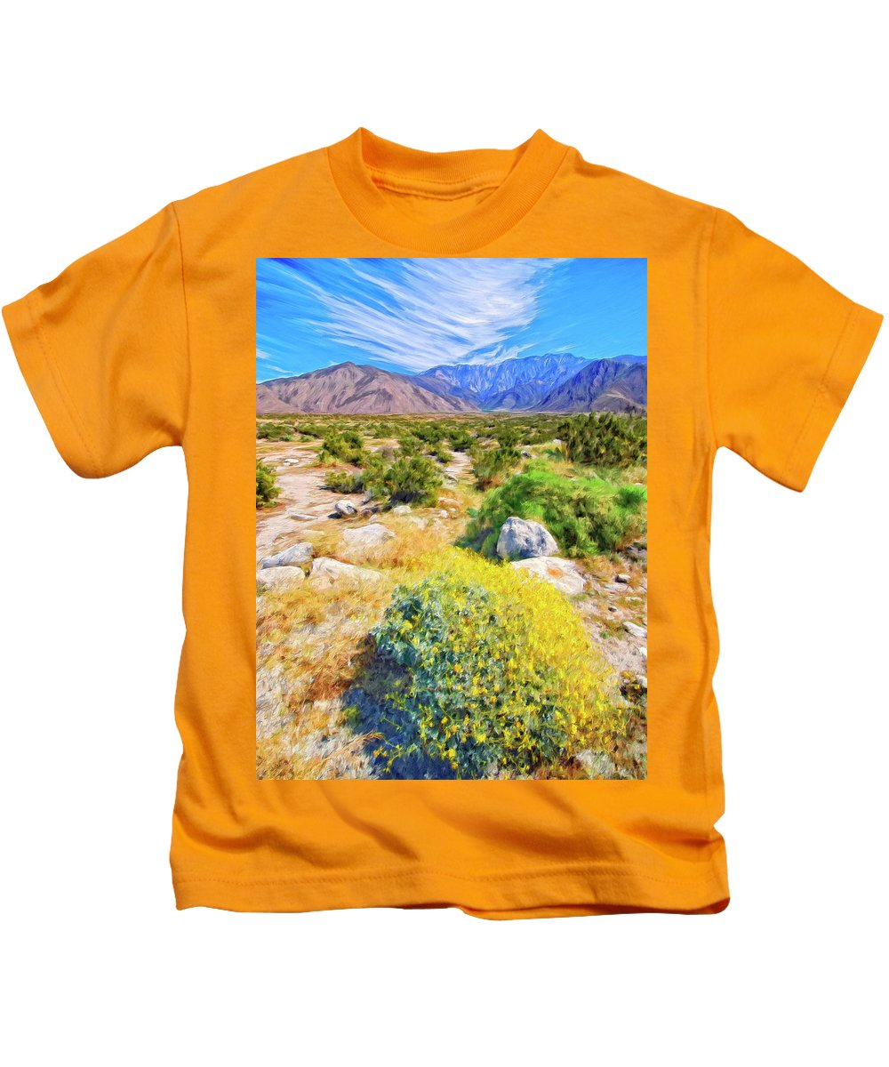 Coachella Spring Kids T-Shirt featuring the painting Coachella Spring by Dominic Piperata