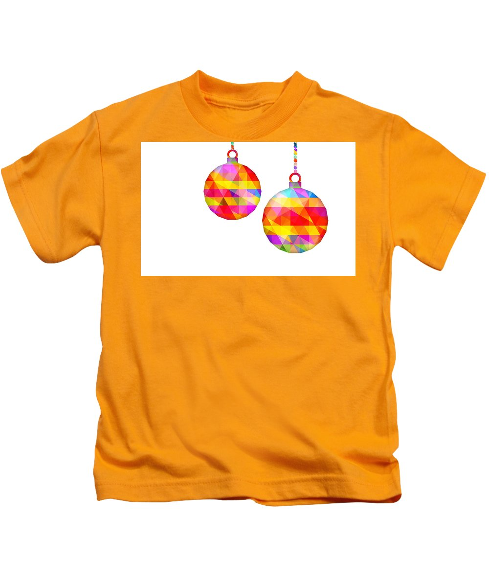 Low Polygon Kids T-Shirt featuring the digital art Colorful Baubles - 66 by Jovemini ART