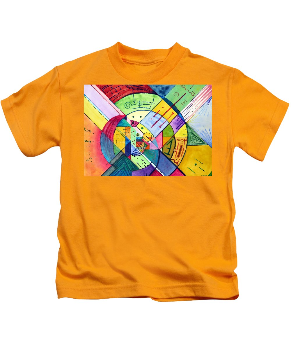 Human Kids T-Shirt featuring the painting Compartmentalized Information by David Wimsatt