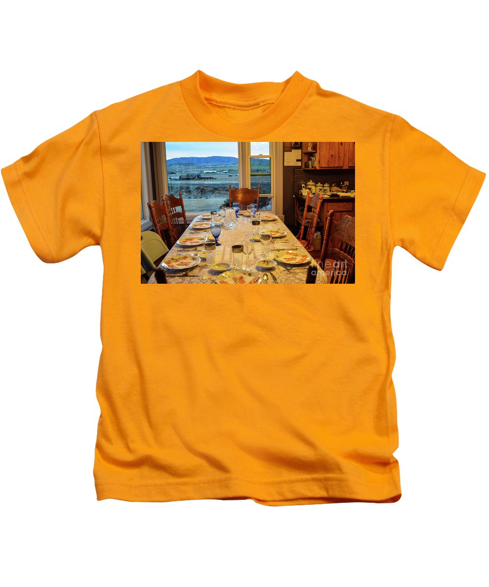 Indoors Kids T-Shirt featuring the photograph Country Table Setting by James Stewart