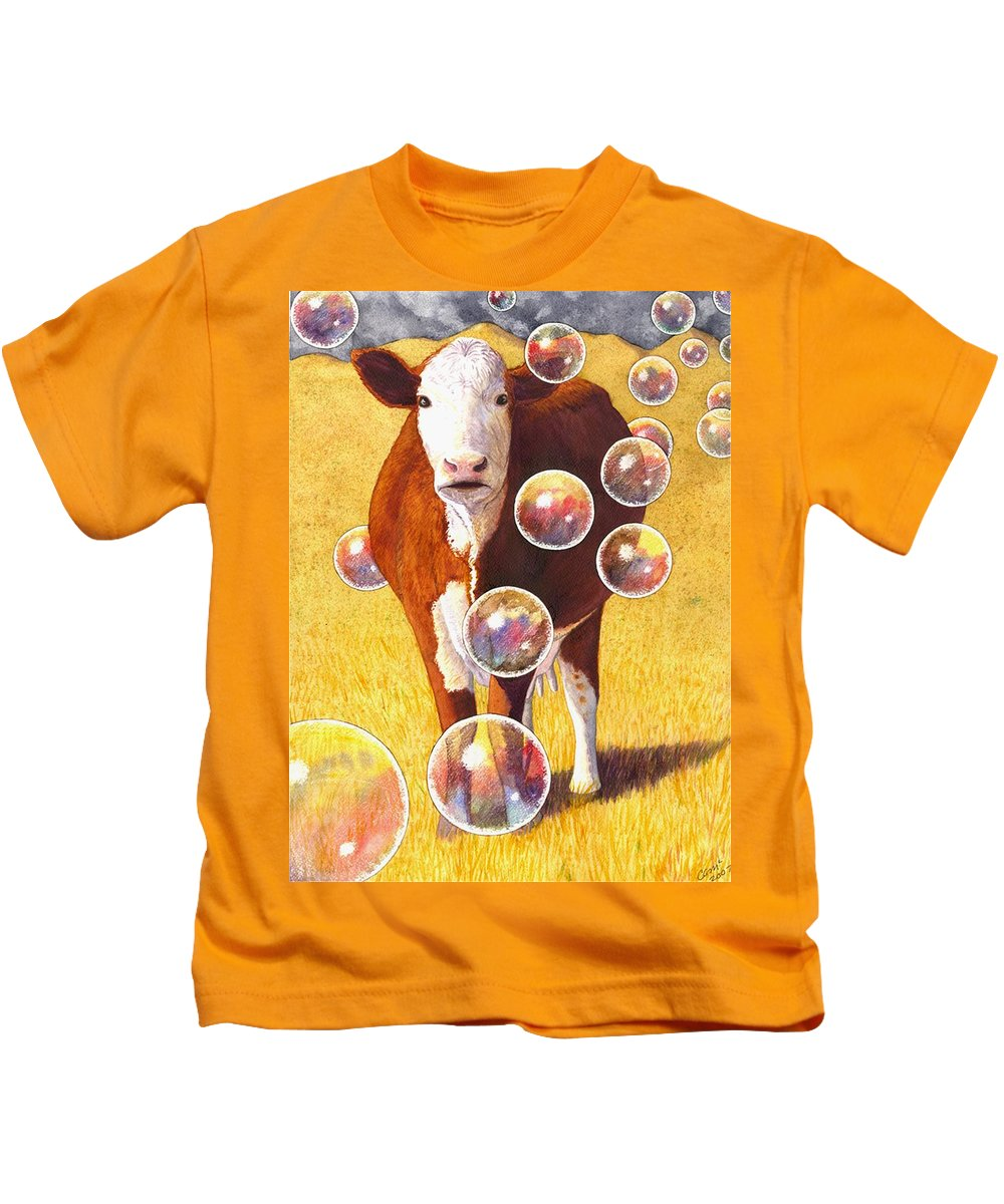 Cow Kids T-Shirt featuring the painting Cow Bubbles by Catherine G McElroy