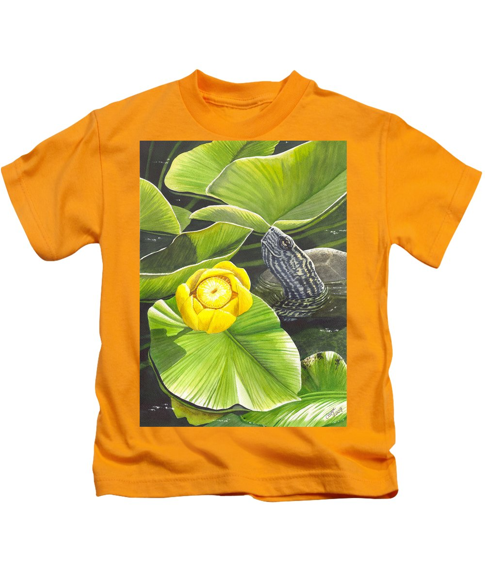 Lily Kids T-Shirt featuring the painting Cow Lily by Catherine G McElroy
