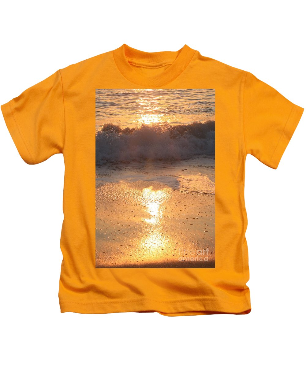 Waves Kids T-Shirt featuring the photograph Crashing Wave At Sunrise by Nadine Rippelmeyer