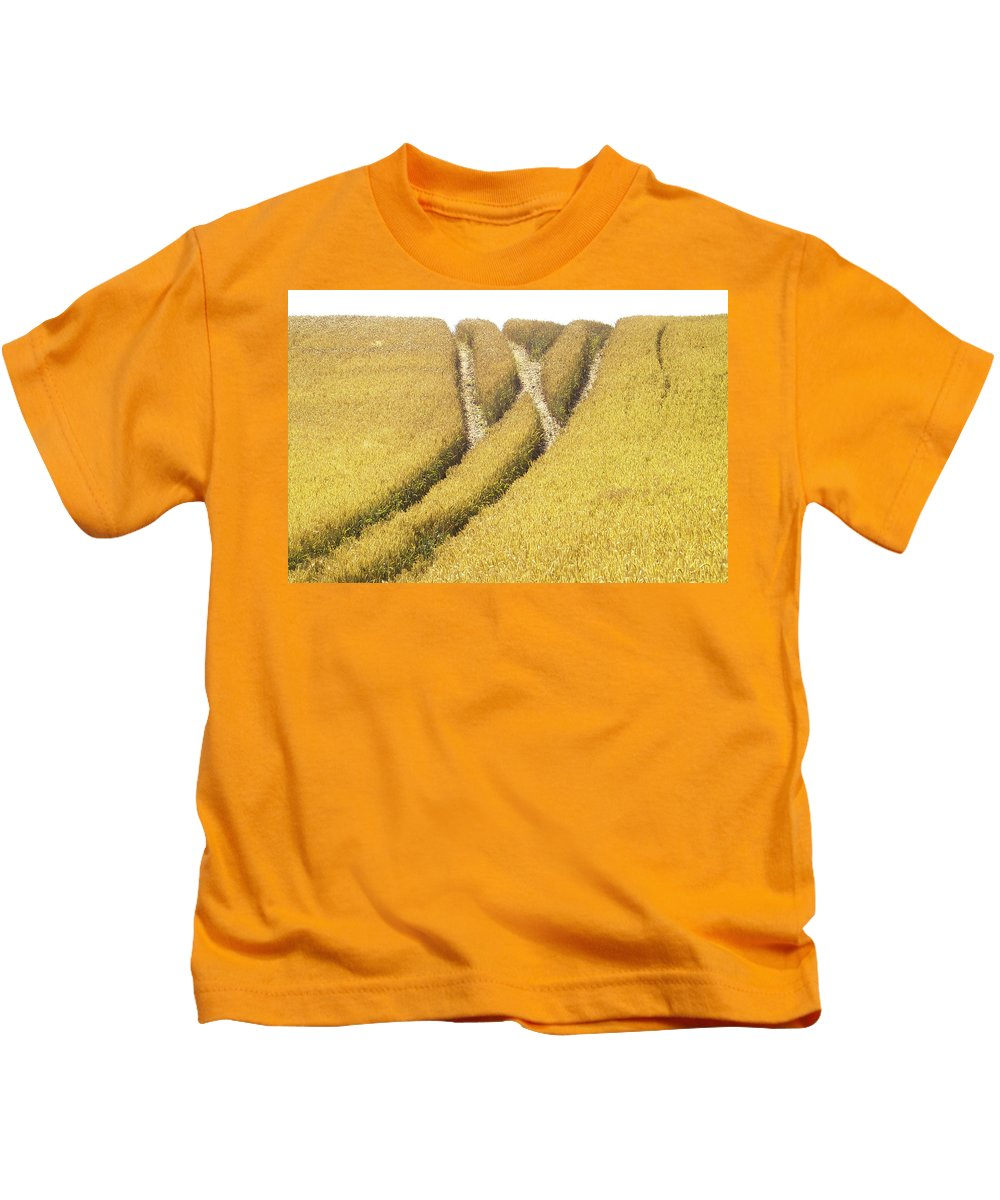 Europe Kids T-Shirt featuring the photograph Crossed Lanes On Cornfield by Heiko Koehrer-Wagner