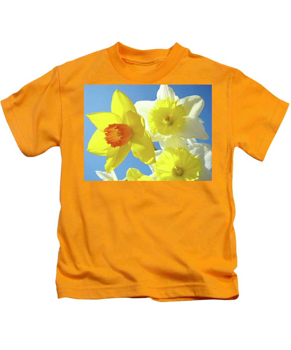 Flowers Kids T-Shirt featuring the photograph Daffodils Art Print Floral Sky Bouquet Daffodil Flower Baslee by Baslee Troutman