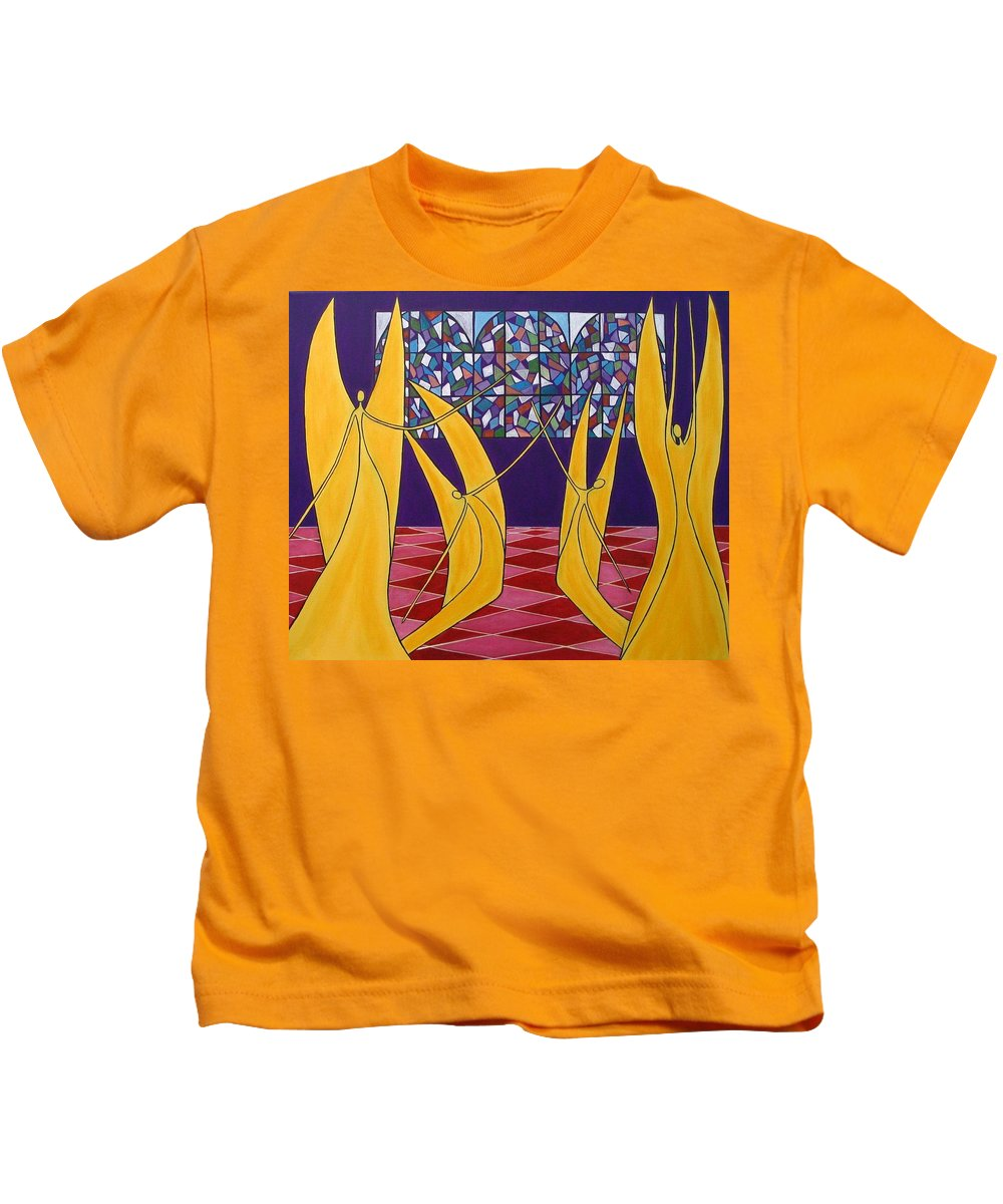 Dance Of Angels Kids T-Shirt featuring the painting Dance Of Angels by Sandra Marie Adams