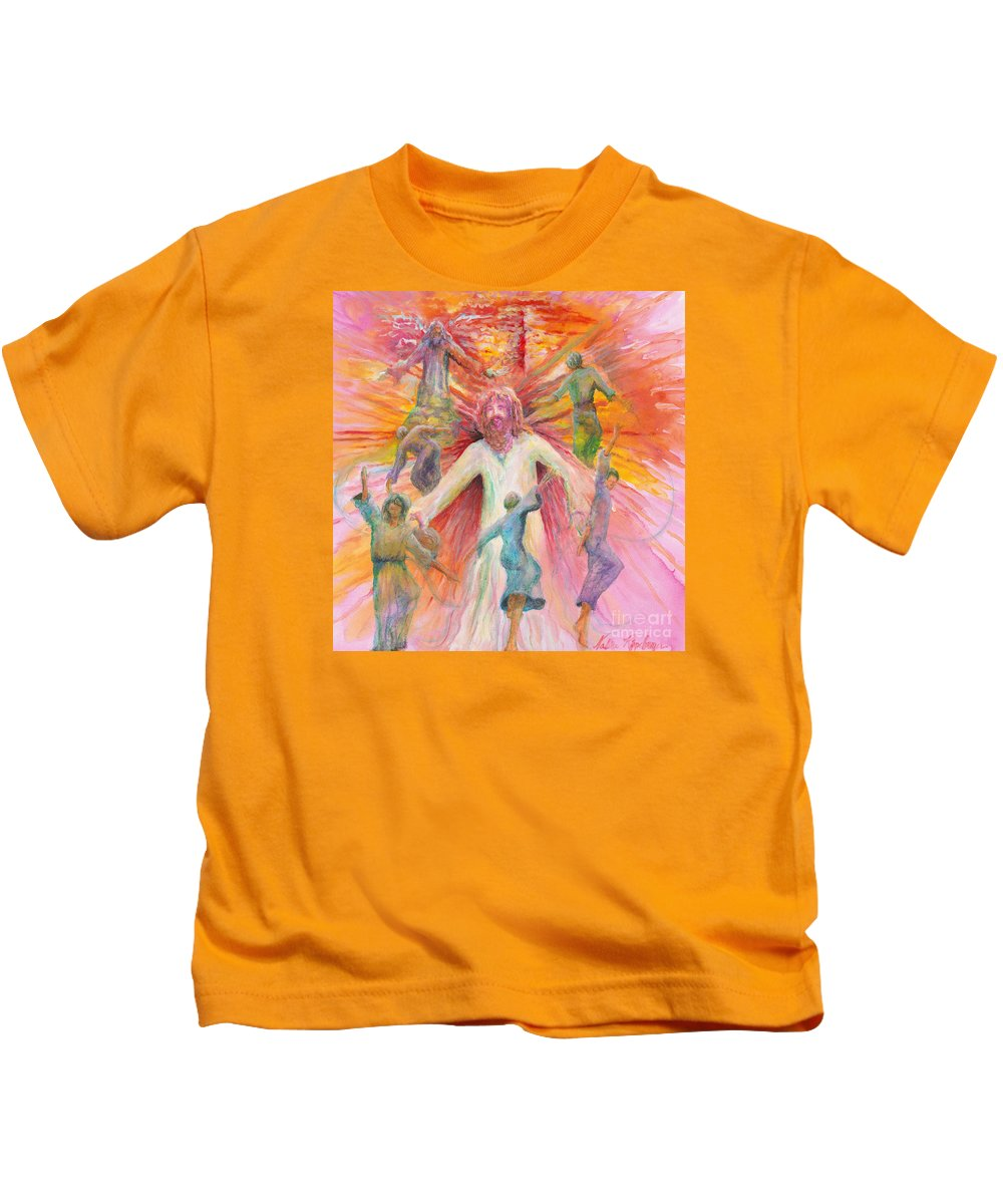 Jesus Kids T-Shirt featuring the painting Dance of Freedom by Nadine Rippelmeyer