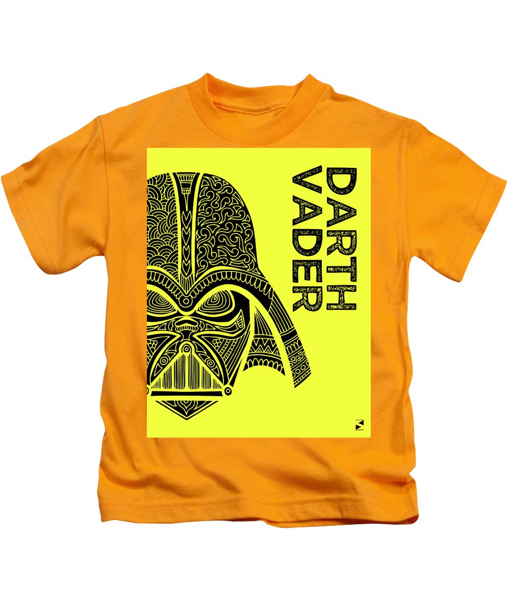 Darth Vader Kids T-Shirt featuring the mixed media Darth Vader - Star Wars Art - Yellow by Studio Grafiikka