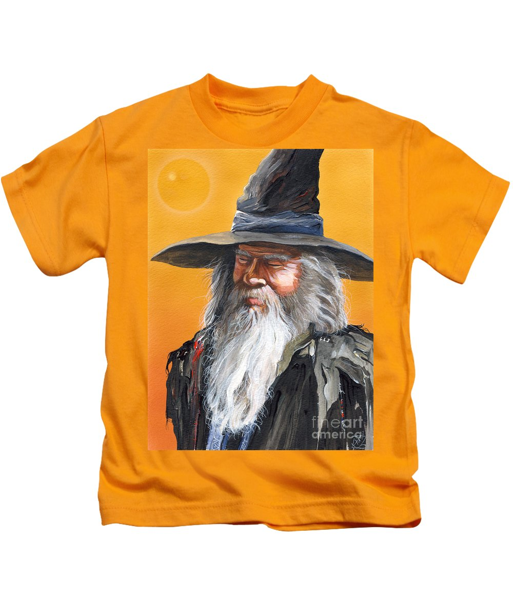 Fantasy Art Kids T-Shirt featuring the painting Daydream Wizard by J W Baker
