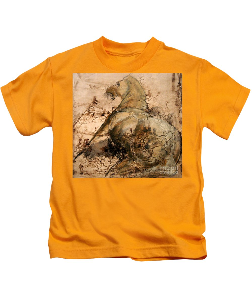 Cheval Kids T-Shirt featuring the painting Demarrage by Anca Sonia