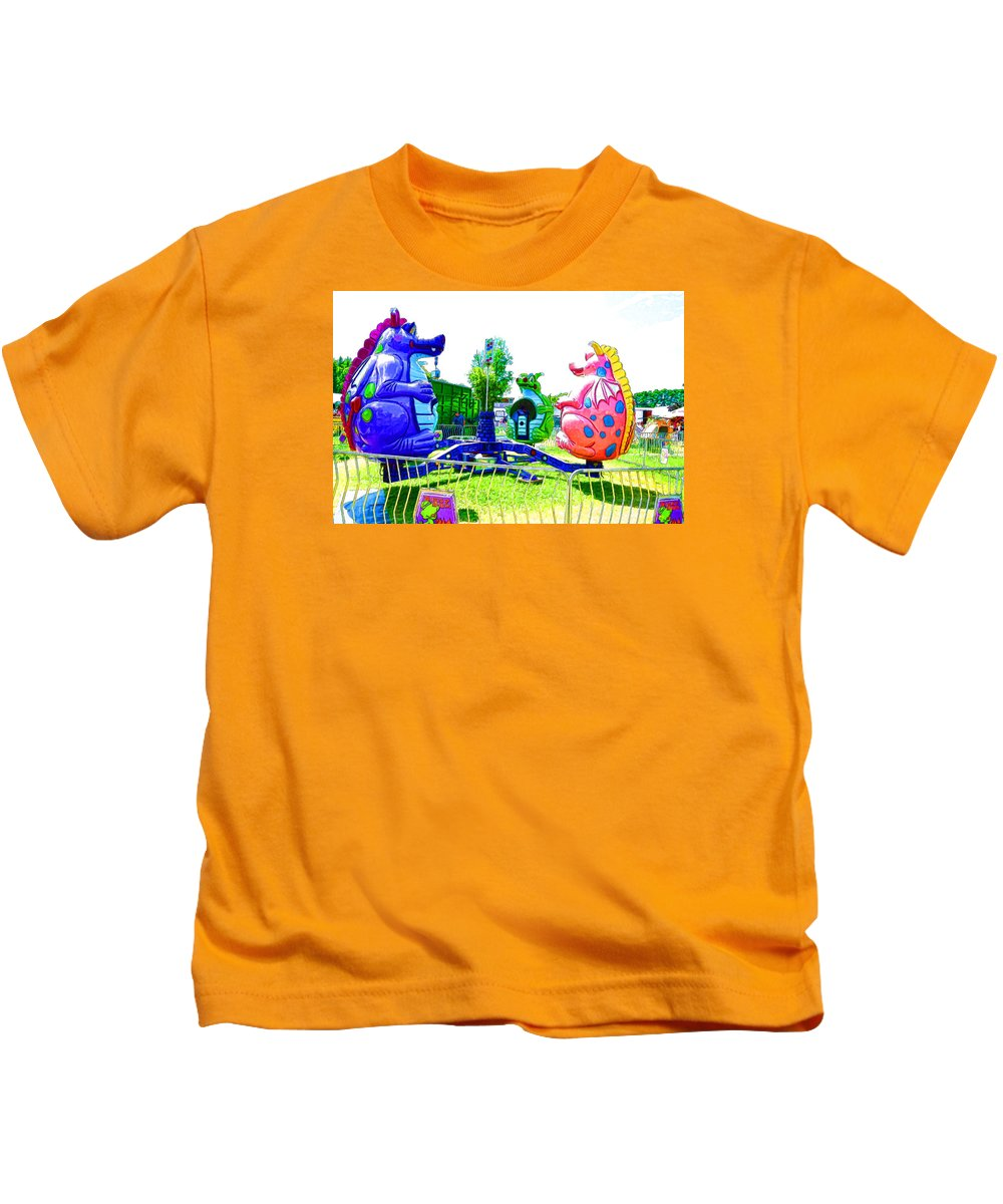 Ride Kids T-Shirt featuring the painting Dizzy Dragon Ride 1 by Jeelan Clark