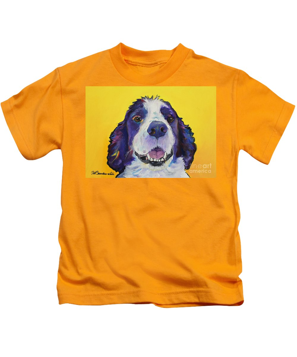 English Springer Spaniel Kids T-Shirt featuring the painting Dolly by Pat Saunders-White