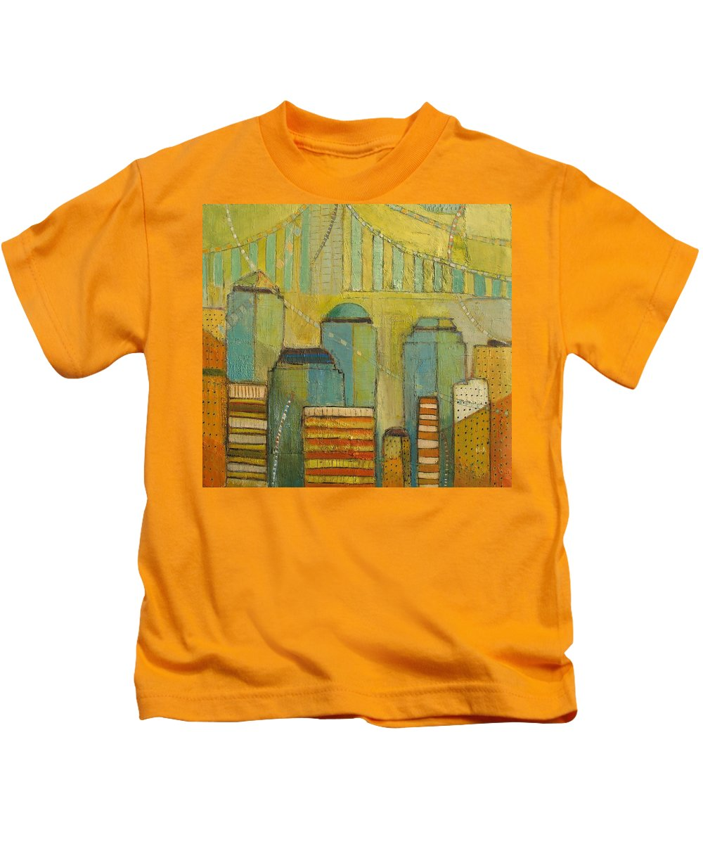 Kids T-Shirt featuring the painting Downtown Manhattan by Habib Ayat