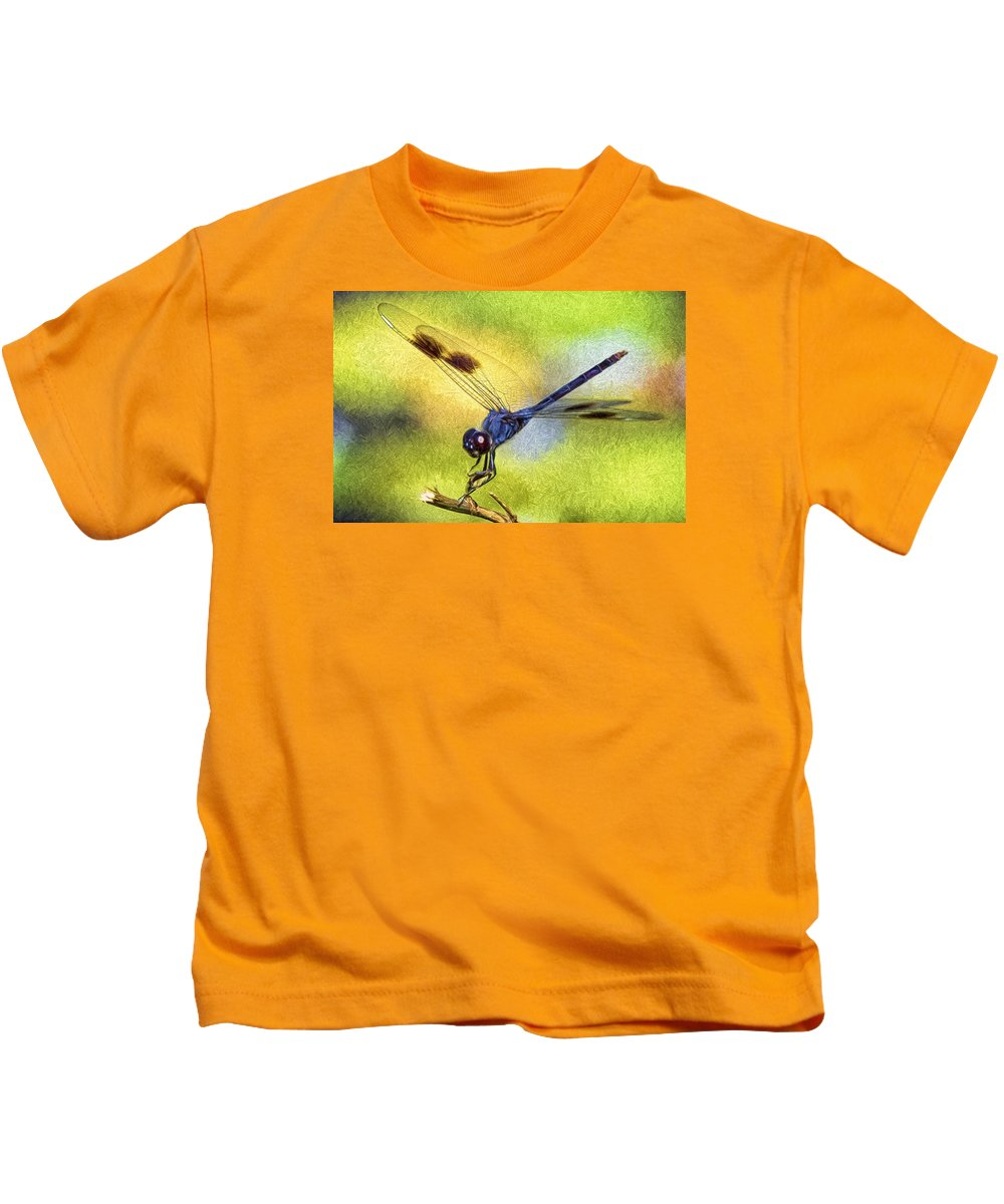 Dragonfly Kids T-Shirt featuring the photograph Dragonfly In Blue by Claudia Daniels