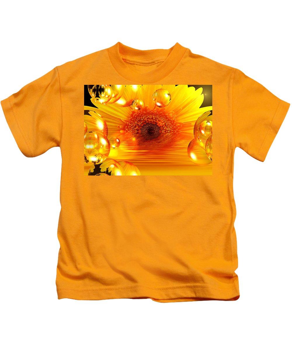 Gerbera Kids T-Shirt featuring the mixed media Dreams 2 - Gerbera Sunrise by P Donovan