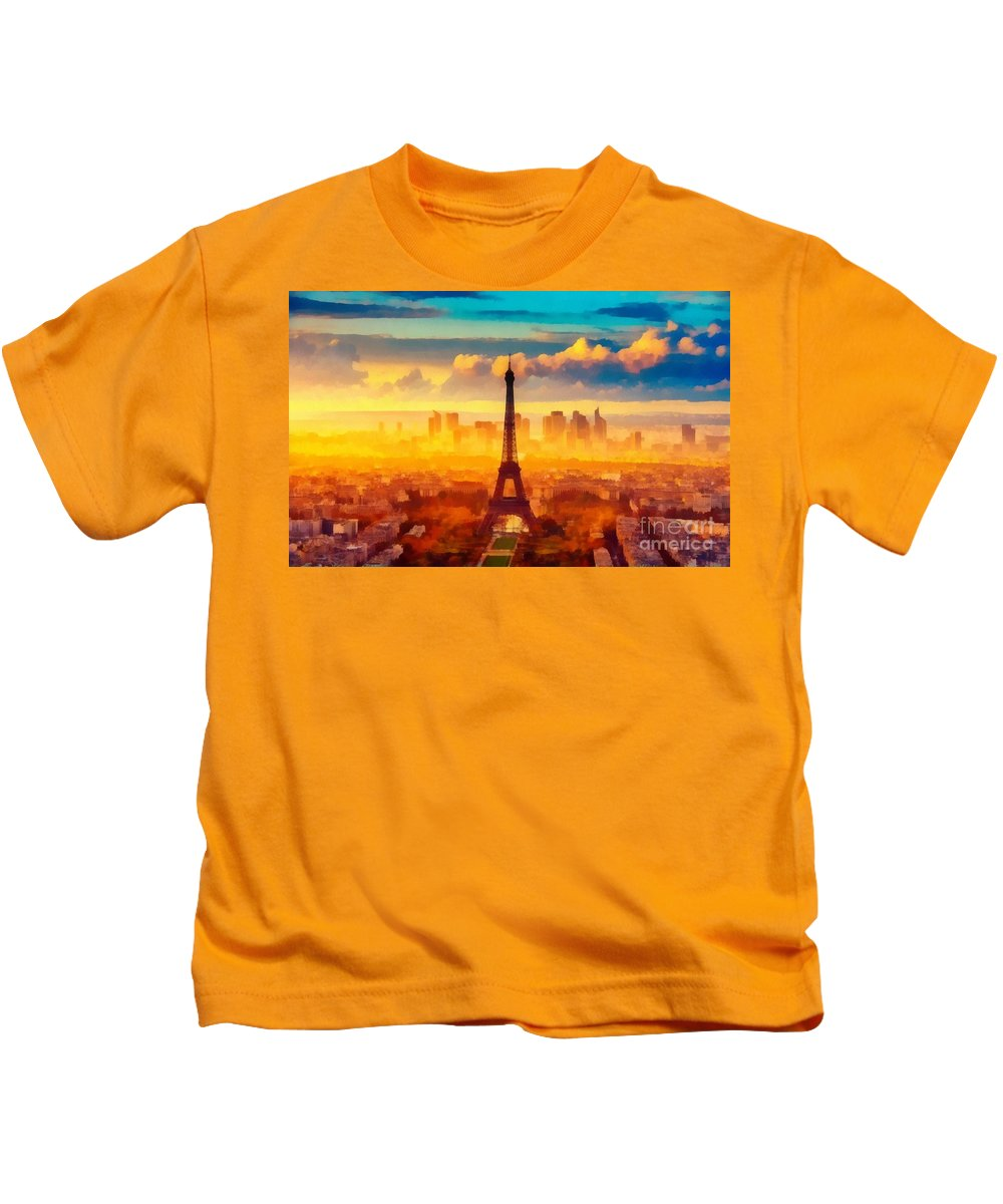 Eifel Tower Kids T-Shirt featuring the painting Eifel Tower by Catherine Lott