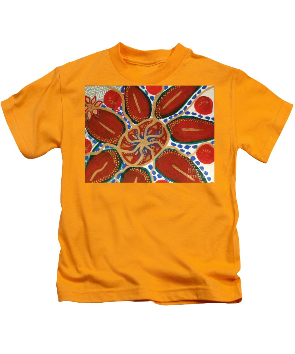 Kids T-Shirt featuring the painting Elec Flower by Cynthia Williams