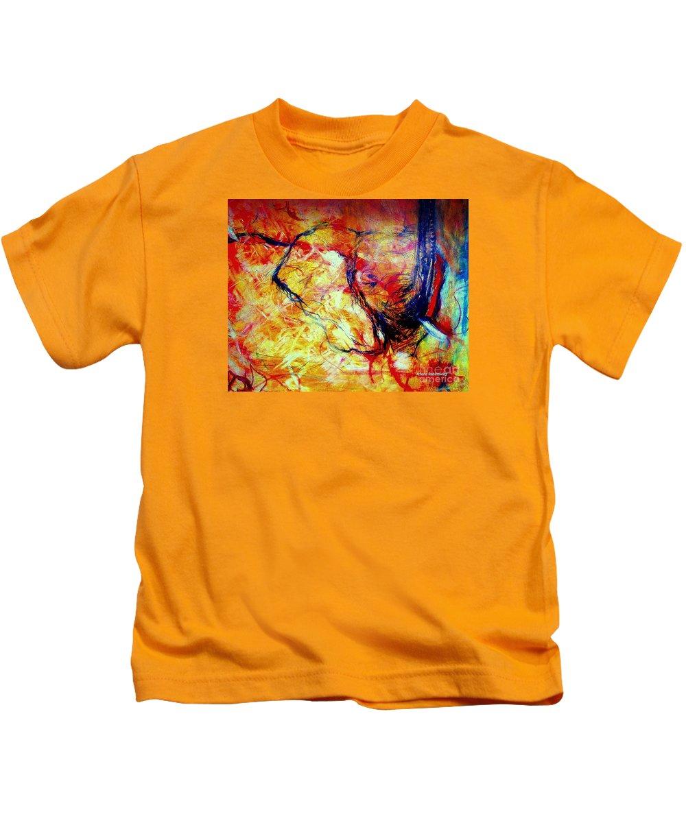 Elephants;drawing Wildlife;expressive Wildlife Art; African Elephant; Wildlife;art And Music;visual Music Abstract Art; Mixed Media Kids T-Shirt featuring the drawing Elephant- Sheut Dimdumim by Arlene Rabinowitz