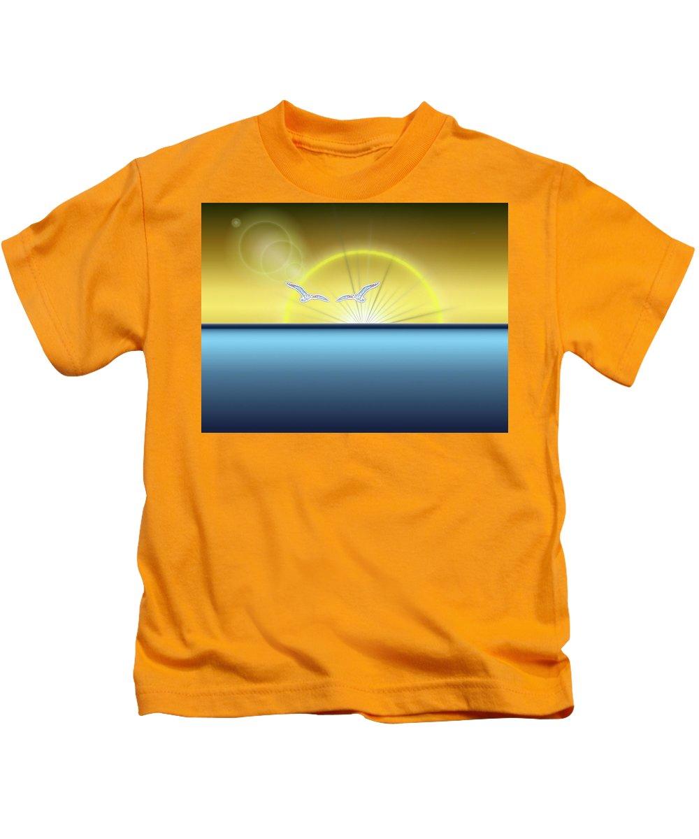 Sunset Kids T-Shirt featuring the digital art Eventide by Tim Allen