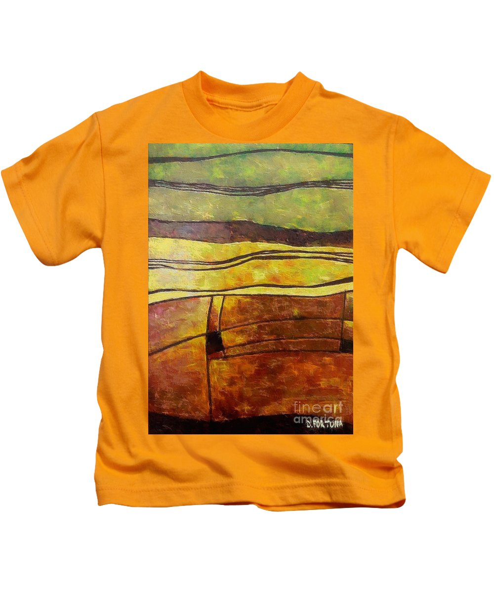 Landscape Autumn Kids T-Shirt featuring the painting Fallow Ground by Dragica Micki Fortuna