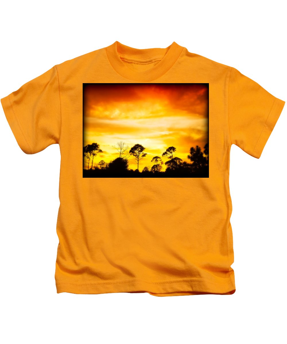 Sky Kids T-Shirt featuring the photograph Fiery Sunset by Rich Leighton