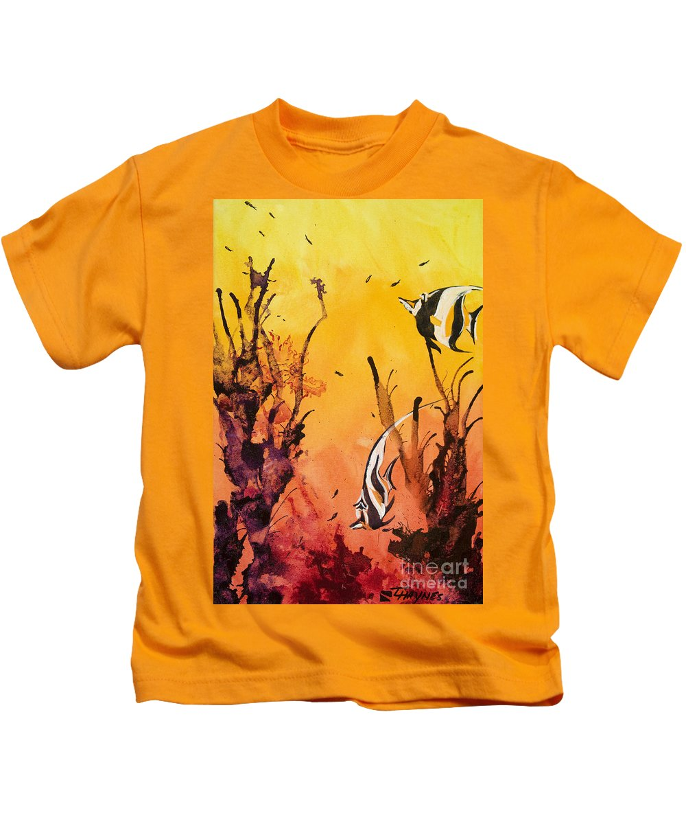 Animal Art Kids T-Shirt featuring the painting Fijian Friends by Tanya L Haynes - Printscapes