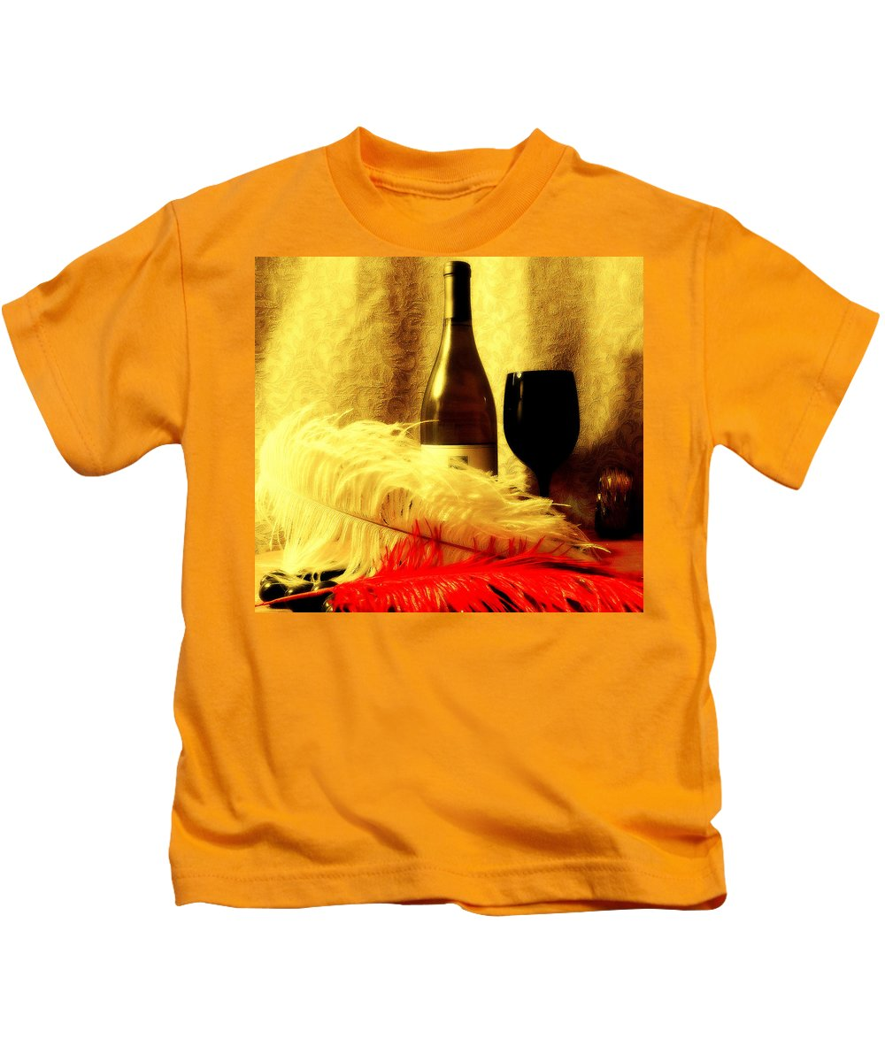 Wine Kids T-Shirt featuring the mixed media Fine Wine by Douglas Coiner