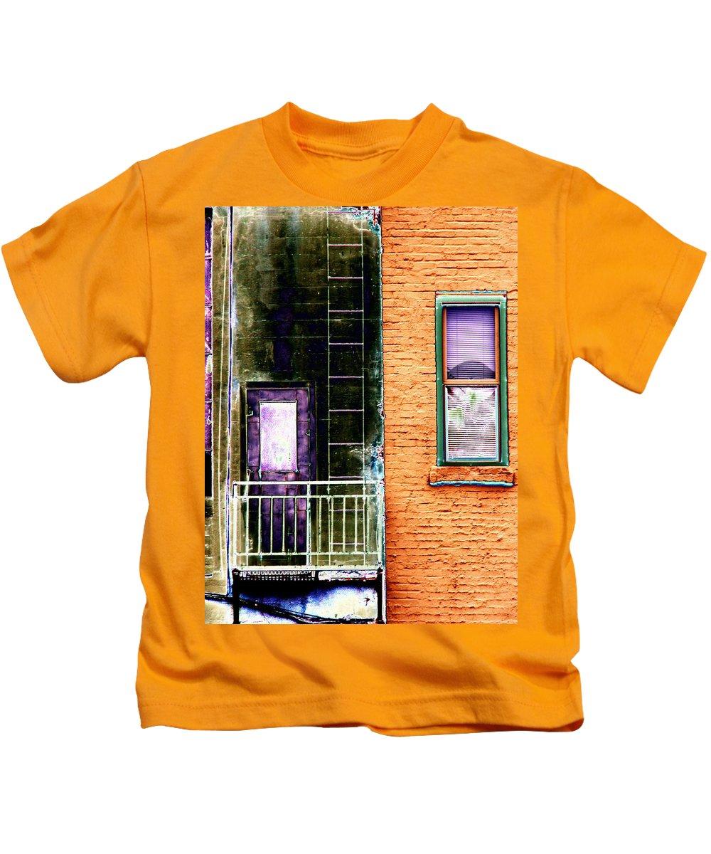 Fire Escape Kids T-Shirt featuring the digital art Fire Escape by Tim Allen