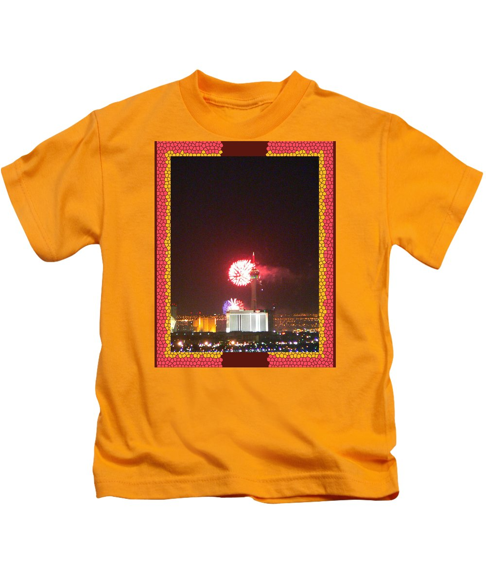 Fireworks Over The Las Vegas Strip Kids T-Shirt featuring the photograph Fireworks Over The Las Vegas Strip by Shirley Anderson