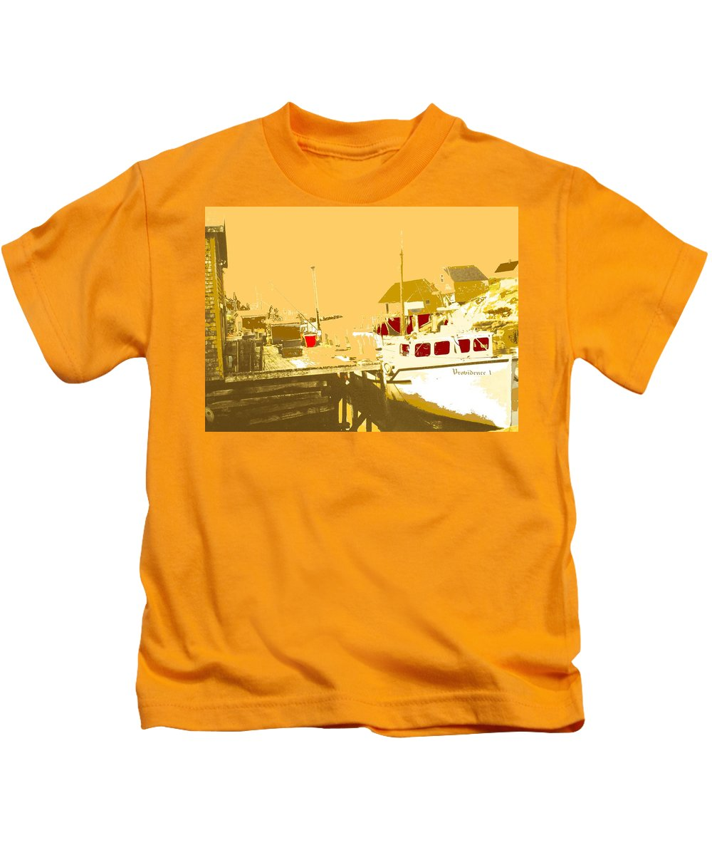 Red Kids T-Shirt featuring the photograph Fishing Boat At The Dock by Ian MacDonald
