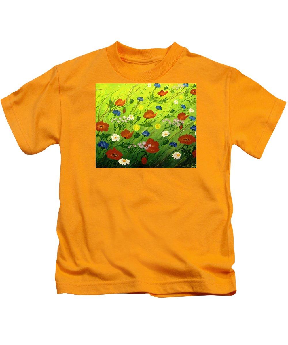 Flower Kids T-Shirt featuring the painting Flower Meadow by Sigita Smetonaite