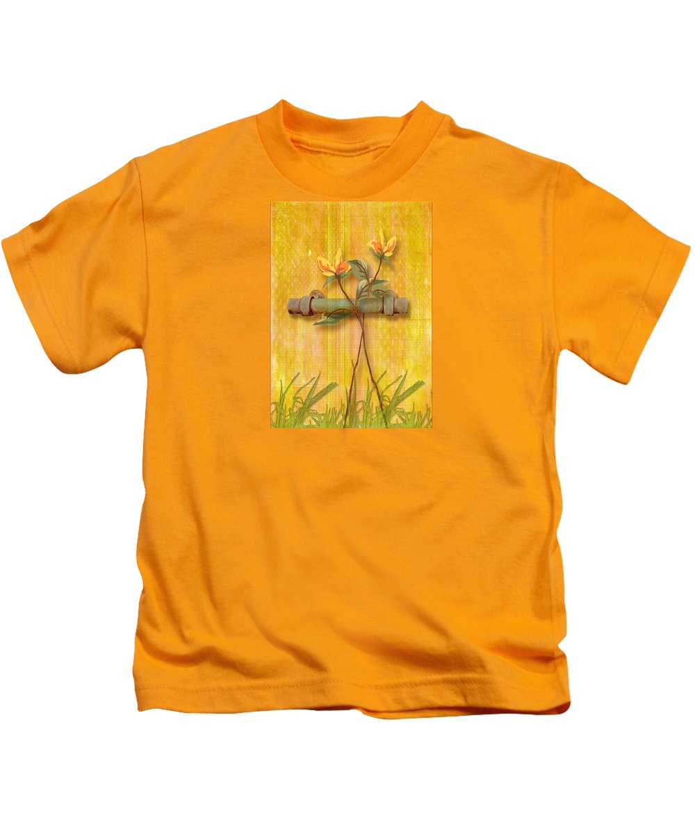 Art Kids T-Shirt featuring the photograph Flower Pull by Larry Bishop