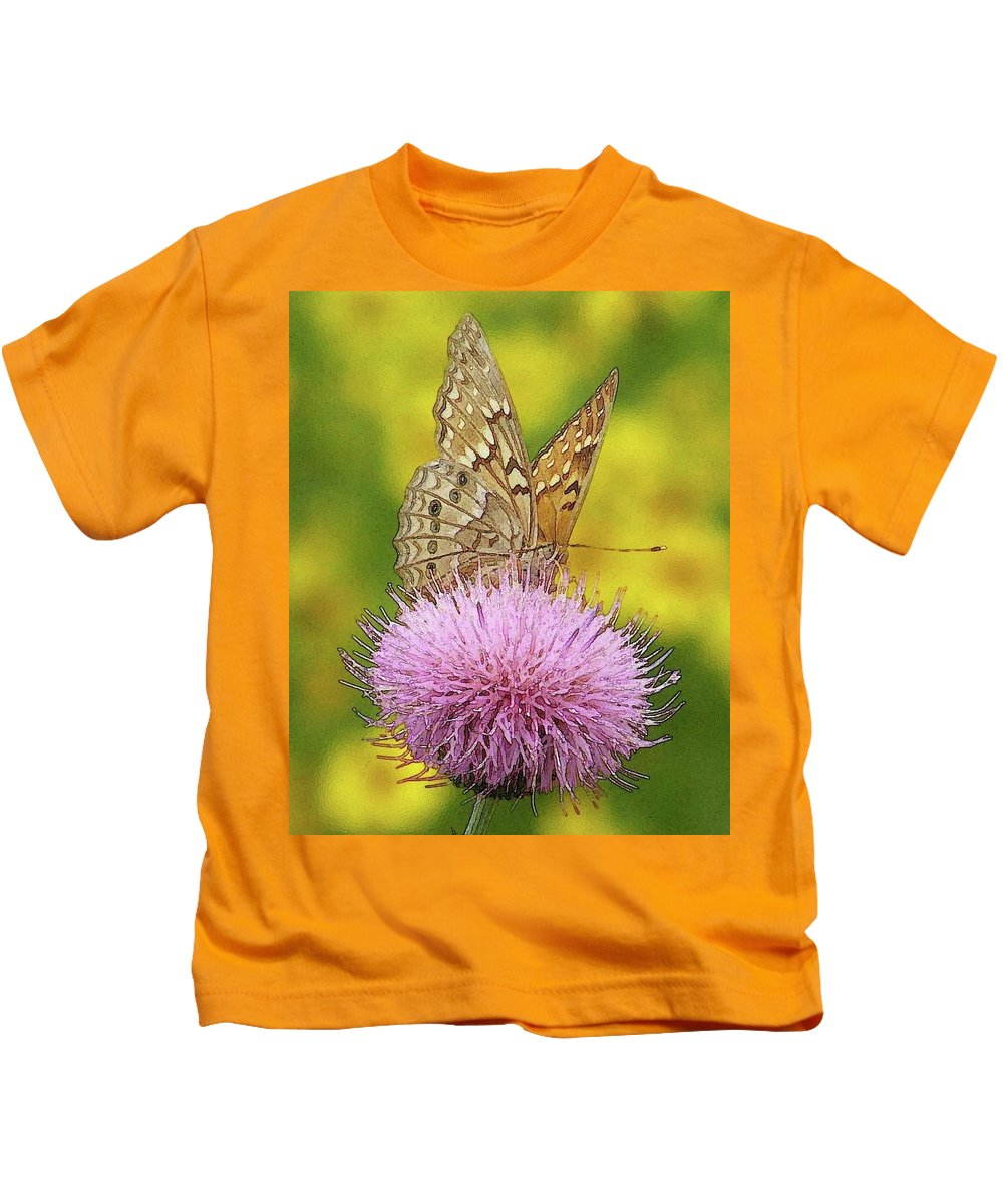 Kids T-Shirt featuring the photograph Flutterby by Amber Stubbs
