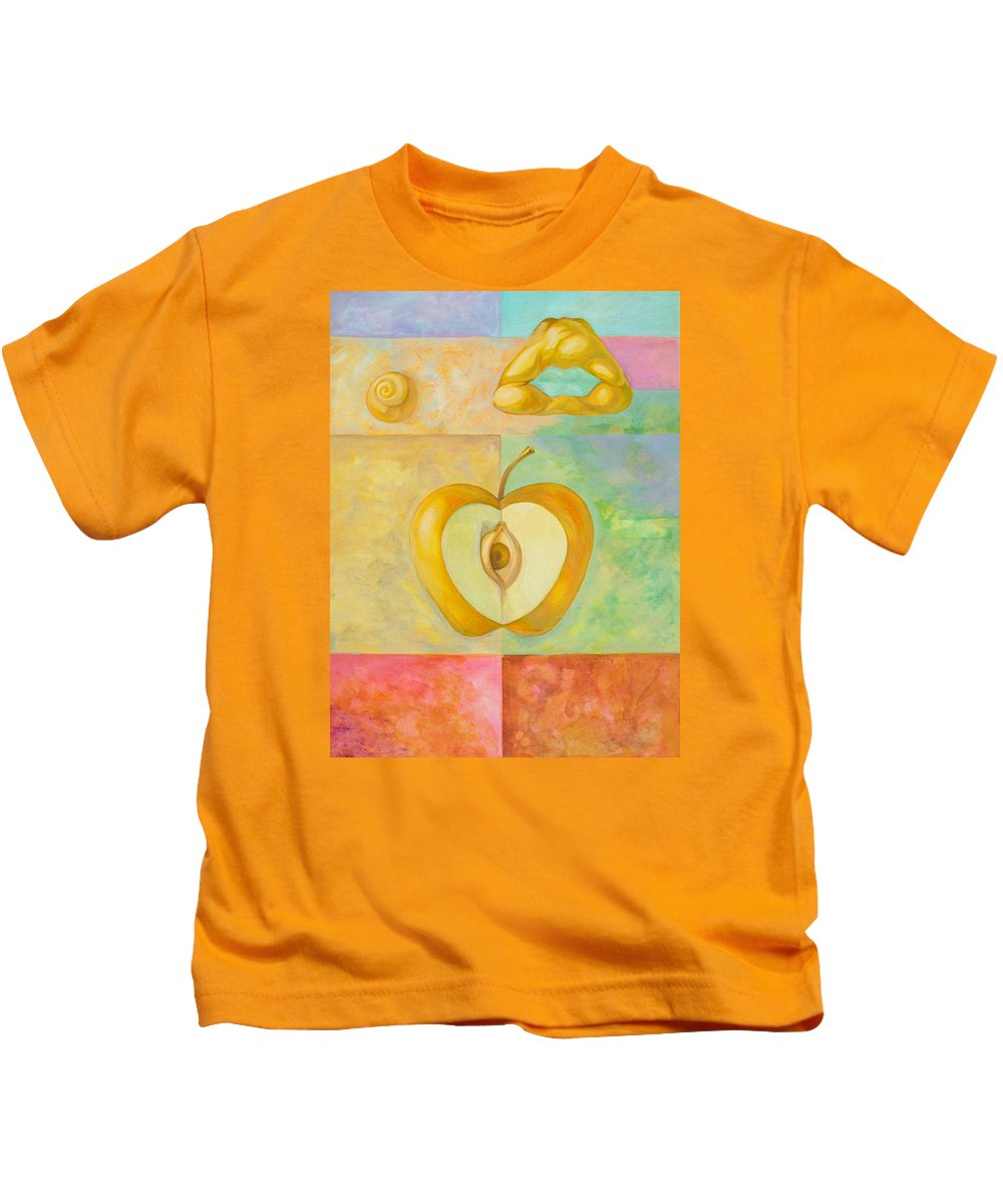 Apples Kids T-Shirt featuring the painting Forbidden Fruit by Filip Mihail