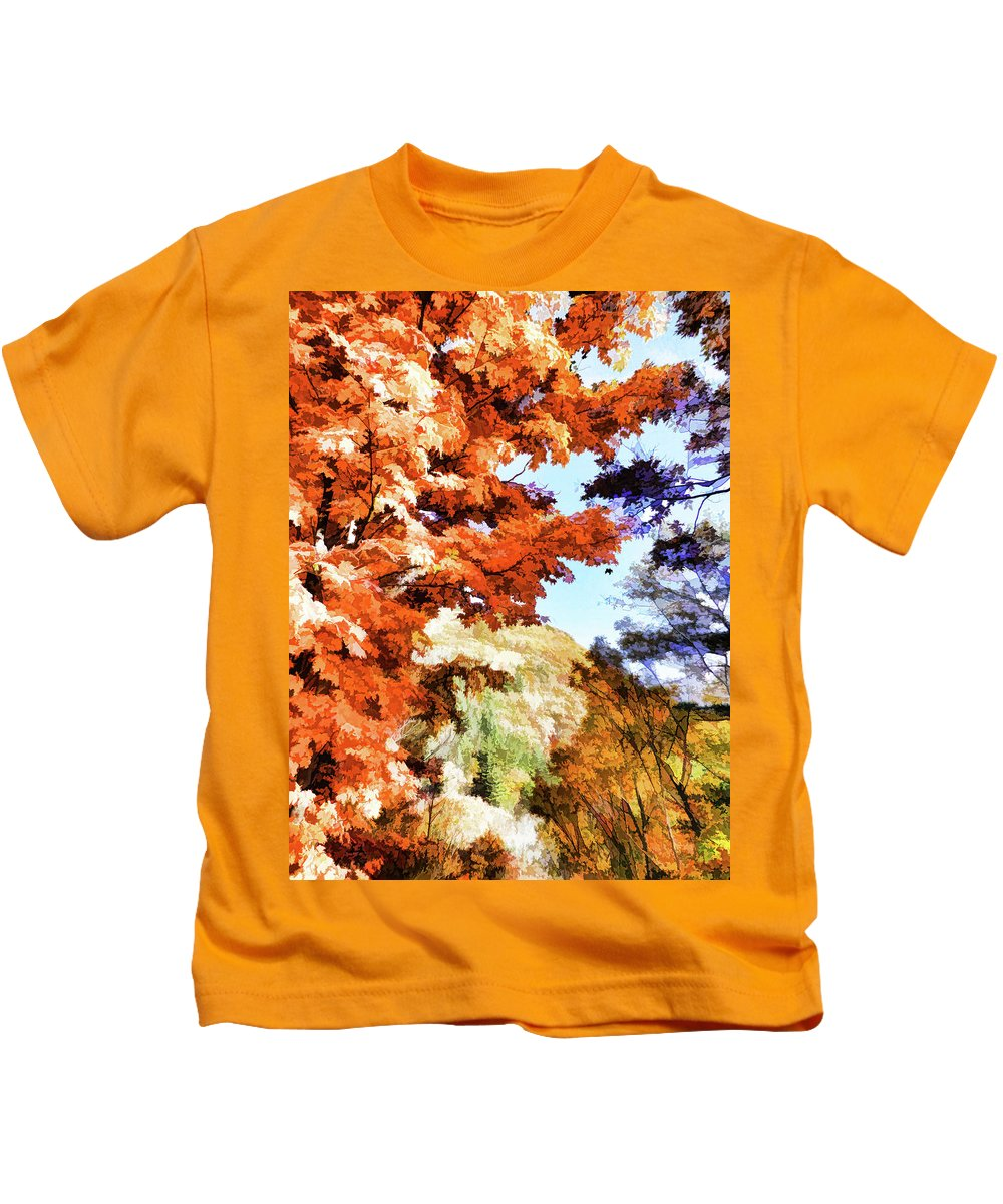 Forest Of Fall Colors Kids T-Shirt featuring the painting Forest Of Fall Colors by Jeelan Clark